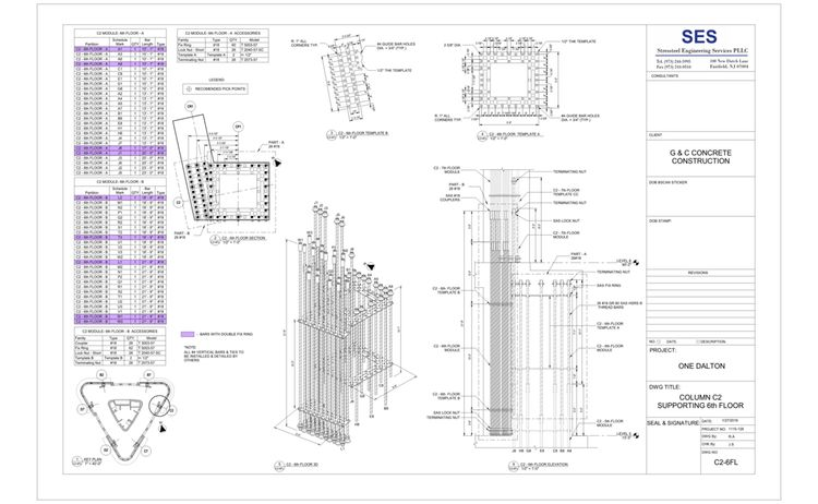 Sheet C2 6fl Column C2 Supporting 6th Floor Color Code